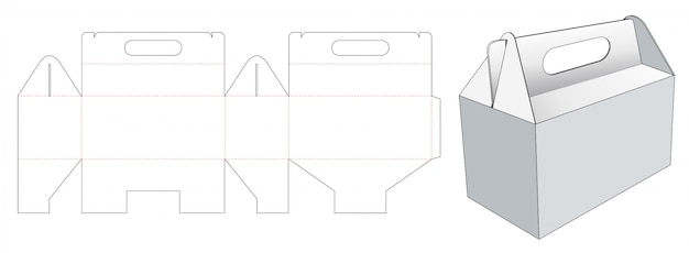 Carry carton die cut template