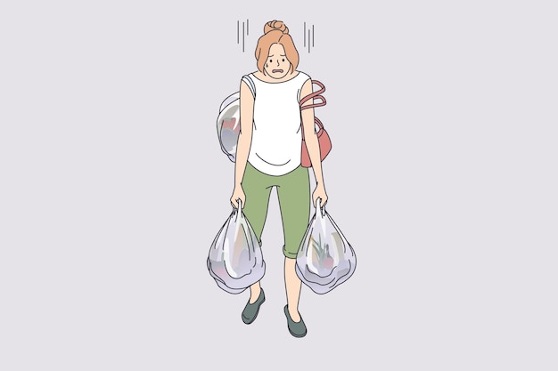 Carrying heavy bags tiredness concept. young exhausted tired woman cartoon character going carrying many heavy shopping bags full of food from supermarket vector illustration