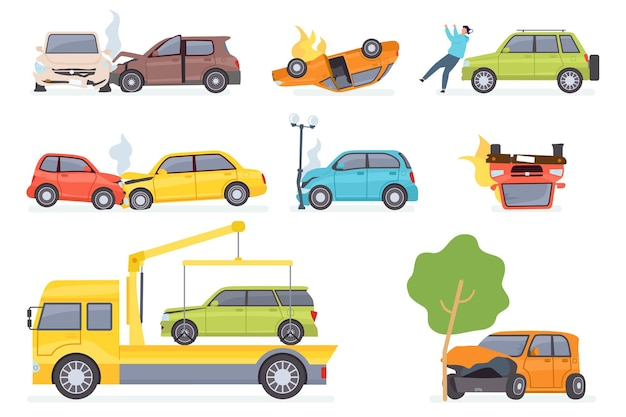 Cars accident. insurance transportation on tow truck, auto collision with tree or street light. vehicle crash vector set. illustration insurance car, vehicle transportation after road accident