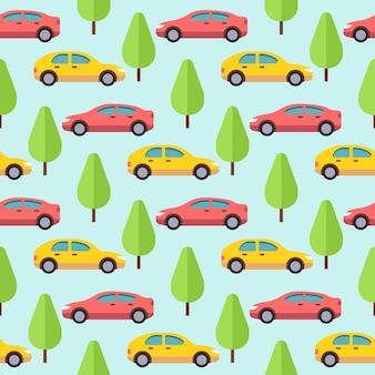 車と木のシームレスなパターンデザイン