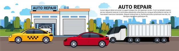 自動車修理サービスガレージ水平バナー上の道路上の車とトラック