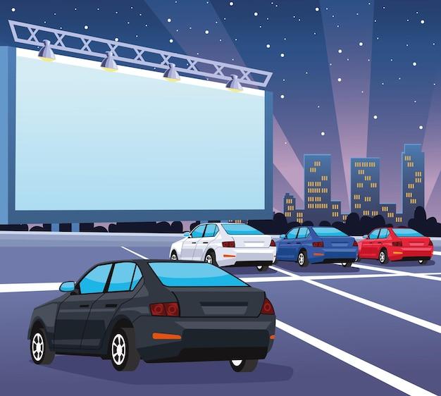 Cars in autocinema illustration