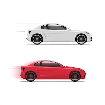 Cars or automobiles racing fast
