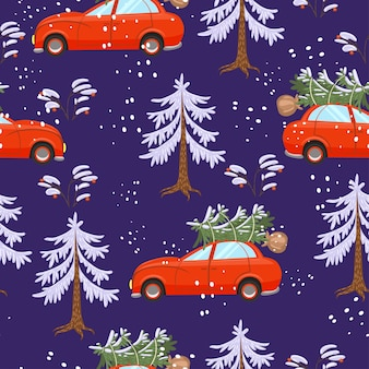 Cars carry christmas trees. seamless pattern.