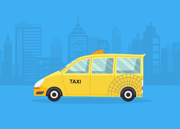 Cars on the city panorama. taxi service. yellow taxi cab.
