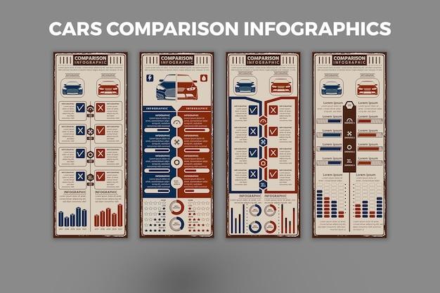 車の比較インフォグラフィックテンプレート