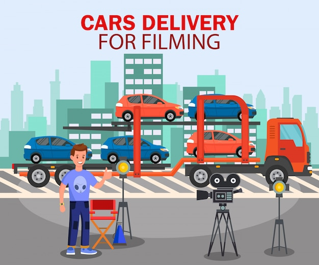 Cars delivery for filming flat banner template