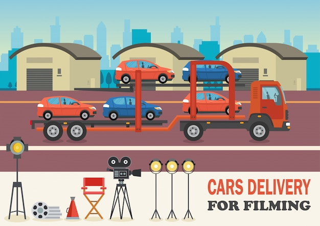 Cars delivery for filming. vector illustration.