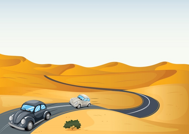 Cars in a desert