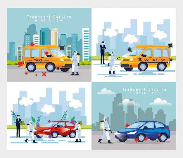 Служба дезинфекции автомобилей, профилактика коронавируса, чистка поверхностей в автомобиле с помощью дезинфицирующего спрея, лица с костюмом биологической опасности