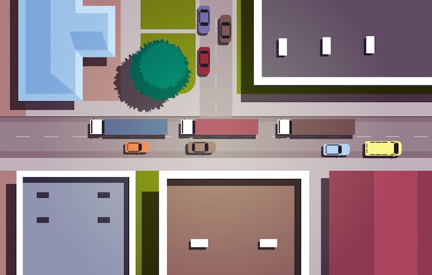 Cars driving road city streets with buildings top angle view horizontal