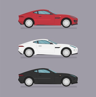 Cars. flat style. side view, profile.