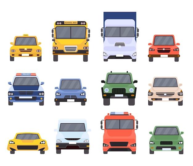 자동차 전면 보기입니다. 평평한 도시 차량 택시, 경찰, 배달 서비스, 학교 버스, 밴, 트럭 및 스포츠 차량. 만화 자동차 모델 벡터 집합입니다. 자동차 택시, 도시 자동차, 모터 세단 그림