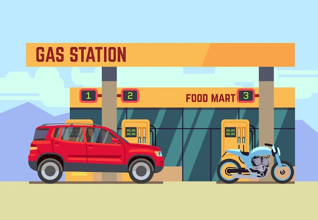 Cars and motorcycles at gas filling station in flat style