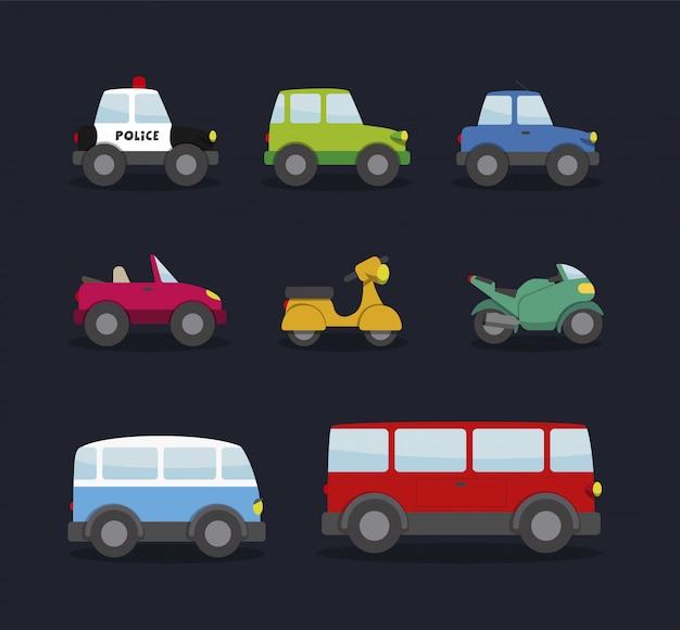 車、オートバイ、バン、バス。子供向けの漫画スタイル