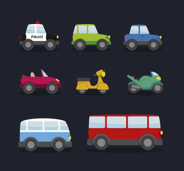 Cars, motorcycles, van and bus. cartoon style, for kids
