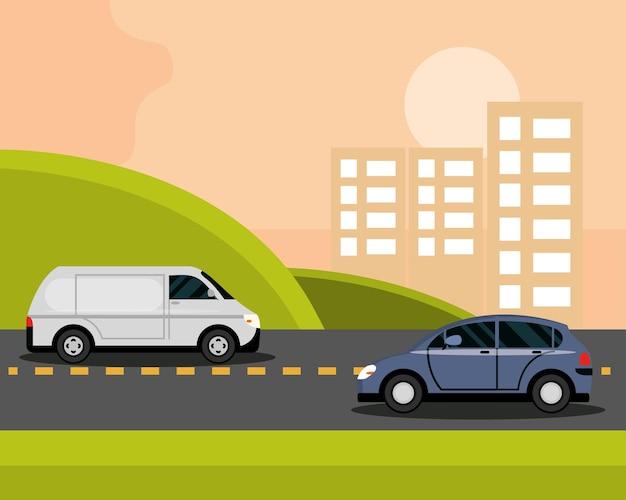 Автомобили на асфальтовой дороге в городских зданиях на фоне, иллюстрация городского транспорта
