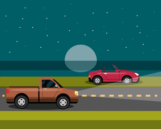 Cars parked and driving at night in cartoon style, city transport illustration