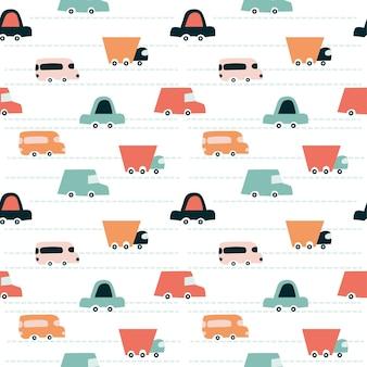 Образец автомобилей. детски мило бесшовные модели. печать для цифровой бумаги, скрапбукинга, ткани, детских игр. универсальный дизайн для детской комнаты и дня рождения. векторные иллюстрации, каракули