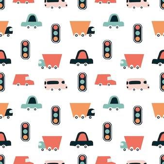 車のパターン。幼稚なかわいいシームレスパターン。交通は信号機によって規制されています。デジタルペーパー、スクラップブッキング、布地、子供のゲーム用に印刷します。ベクトルイラスト、落書き