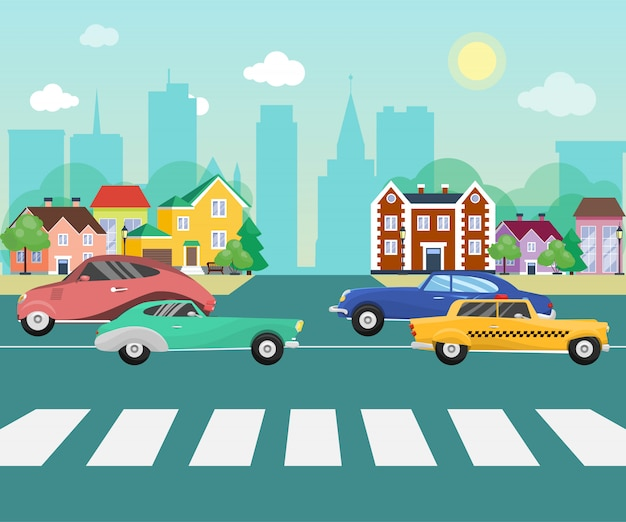 Cars on the road streets of suburb on big city with skyscrapers. cityscape with cars and other vehicles vector illustration. retro vehicles on the little town street.