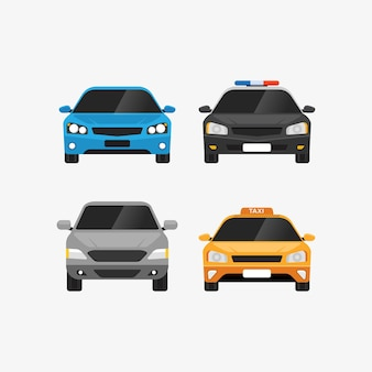 Cars set front view personal and public transport illustration