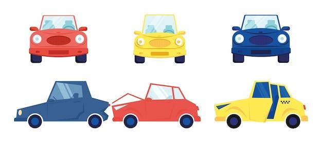車は白い背景で隔離を設定します。漫画フラットイラスト