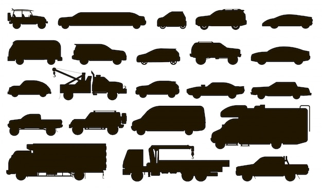 Cars silhouette. automobiles type. isolated bus, motorhome, van, tow truck, sedan, taxi, limousine, suv car vehicle flat icon collection. urban auto motor transport silhouette models set