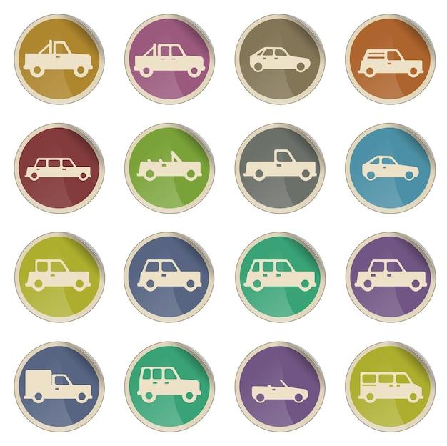 Автомобили просто вектор икона set