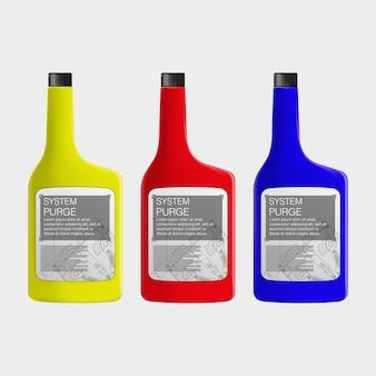 車のテクニカルフルイドボトル。色を簡単に変更する機能。