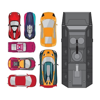 Cars top view collections
