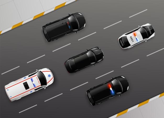 Auto vista dall'alto composizione realistica con immagini di auto di servizio a luce blu che si muovono lungo la strada