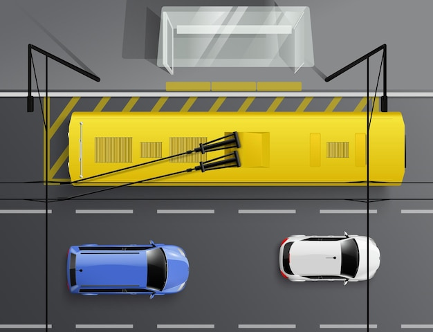 Автомобили вид сверху реалистичная композиция с автомобилями, едущими по дороге и троллейбусом на остановке, иллюстрации