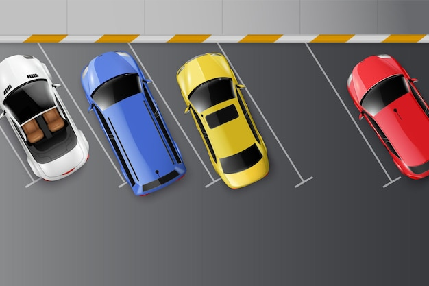 Cars top view realistic composition with parking space marks on asphalt surface and colourful motor vehicles