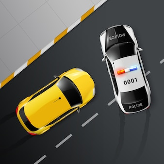 Cars top view realistic composition with road surface and police getting in way of chased automobile
