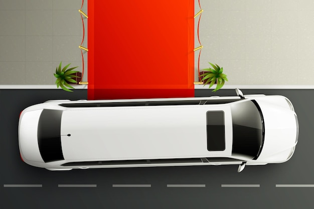 Cars top view realistic composition with white luxury limousine standing in front of red carpet