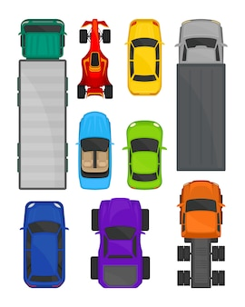 Cars and trucks top view set, city and cargo delivering transport, vehicles for transportation  illustration