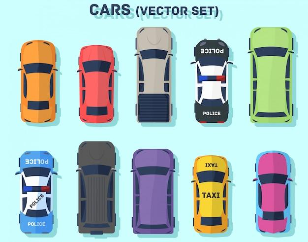 Автомобили вид сверху. пассажирский авто. плоский стиль