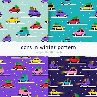 Cars in winter pattern collection