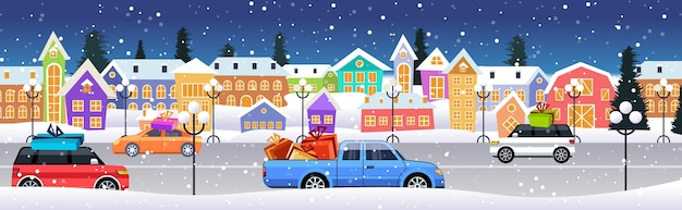 겨울 도시 거리 메리 크리스마스 행복 한 새 해 휴일 축 하 개념 눈 덮인 마을 눈 풍경 가로 벡터 일러스트 레이 션을 통해 도로를 운전하는 선물 상자와 자동차