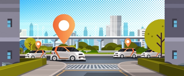 Cars with location pin on road online ordering taxi car sharing concept mobile transportation carsharing service modern city street cityscape