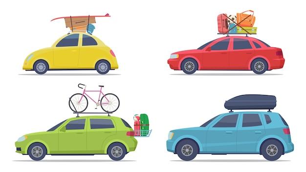 수하물이있는 자동차. 여행 가방 휴가 전송 벡터 컬렉션 차량. 여행 또는 여행 여름을위한 그림 수하물 자동차