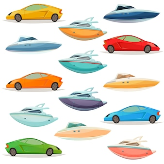 Cars yachts boats cartoon set