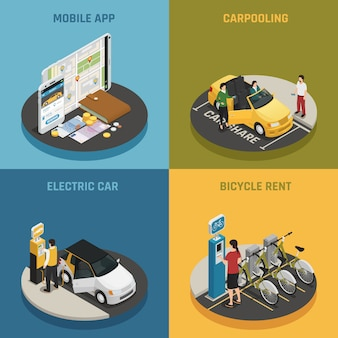 Carsharing 2x2 design concept Vettore gratuito