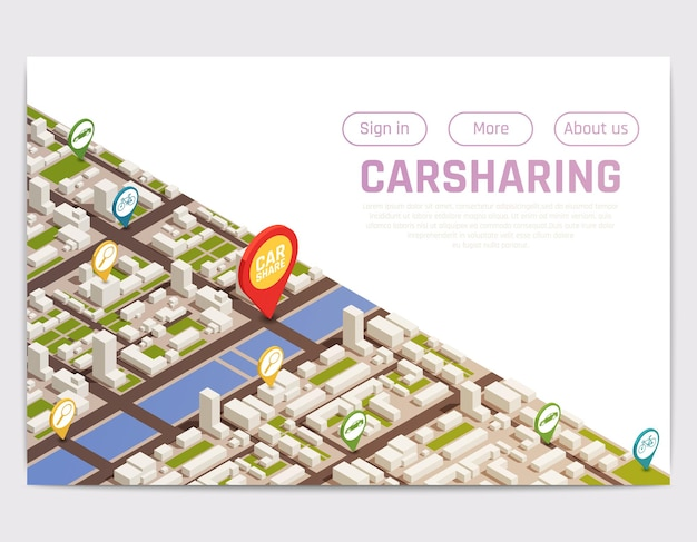 Carsharing carpooling ridesharing website landing page with isometric city map and location signs with buttons