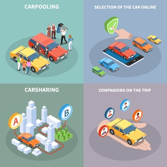 Carsharing concept illustration set with car selection symbols isometric isolated