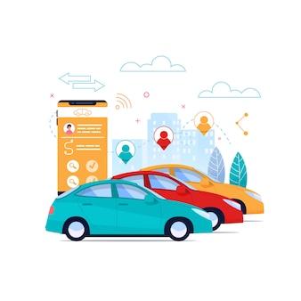 Carsharing flat иллюстрации. аренда автомобилей