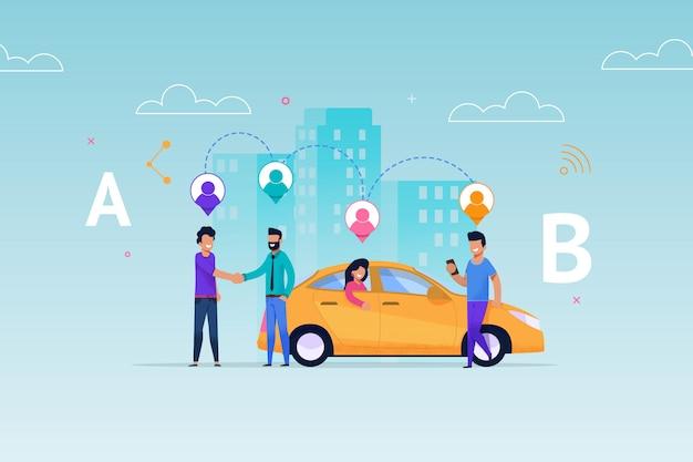 Такси carsharing ride service. схема размещения аренды транспорта. транспортные средства забирают людей согласно геолокации на маршруте.