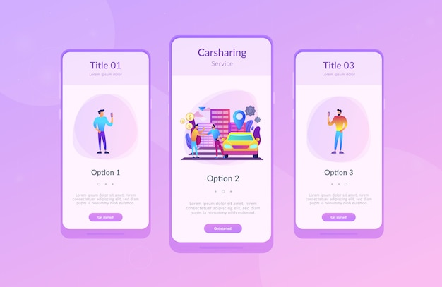 Carsharing service app interface template.