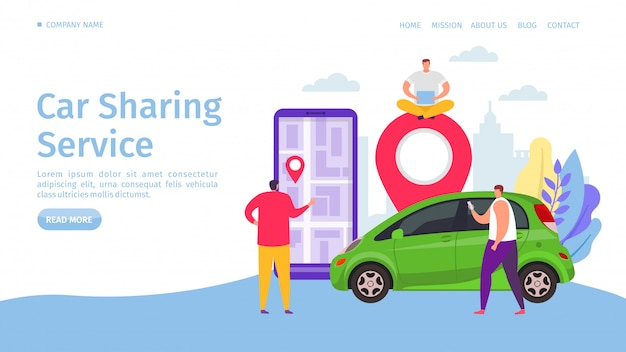 カーシェアリングサービス、イラスト。レンタカーのモバイルアプリケーション、スマートフォンのウェブサイトのバナーでオンラインで交通機関を共有